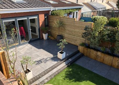 Garden Design with Patio and Artificial Grass – Drayton, Hampshire