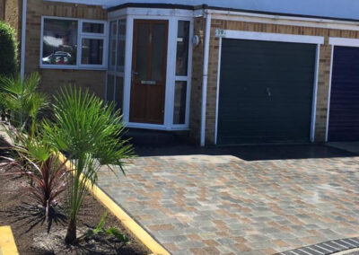 Marshalls Natrale in Slate with Sleeper Flower Beds Driveway in Stubbington